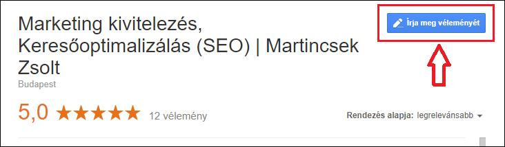 """lokál seo útmutató, google cégem profilban """"írja meg véleményét"""" gomb"""