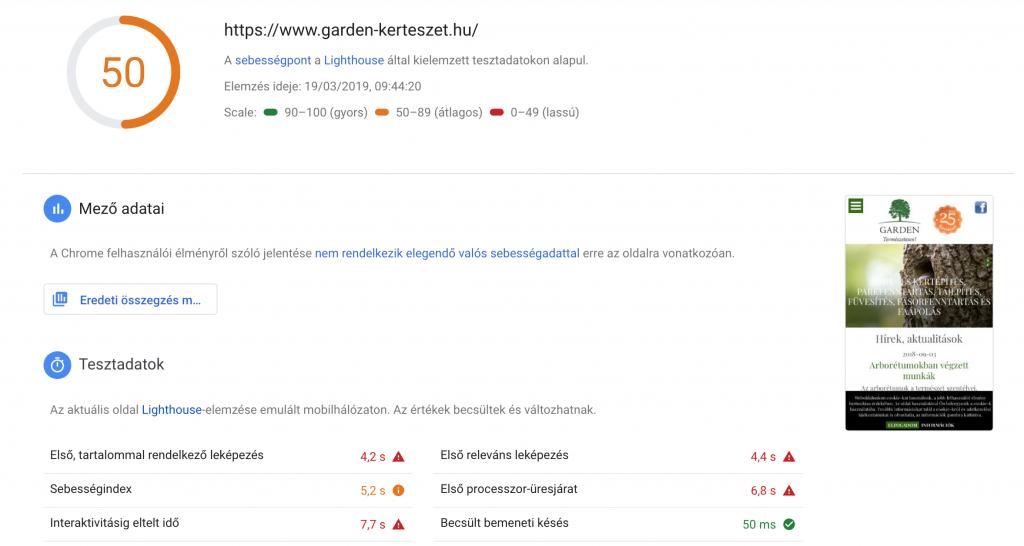 A Google PageSpeed Insights értékelése