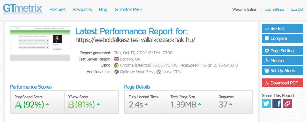 A weboldal GTmetrix értékei a Divi 4.0. témával, gyors betöltődés Divivel