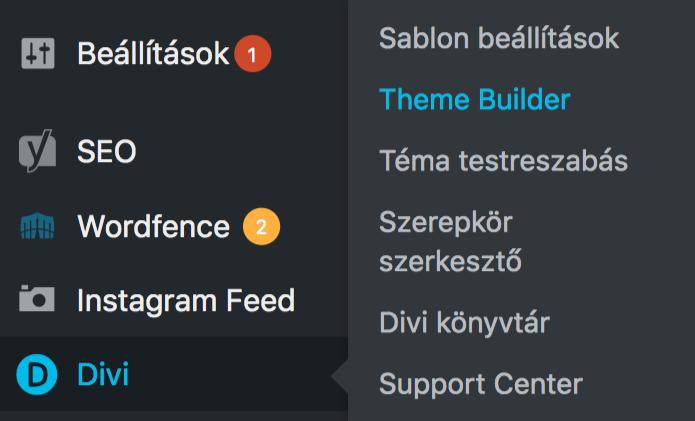 Megjelent a Theme Builder menüpont